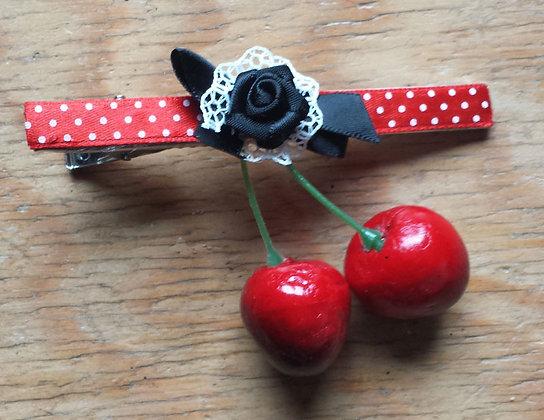 Barrette cerises rouge/noeud noir