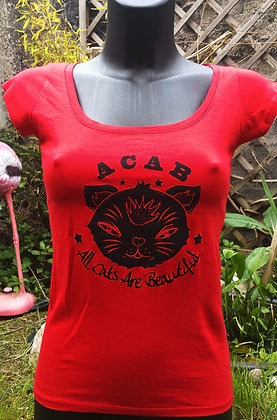 """T-Shirt femme """"All cats are.."""" red"""