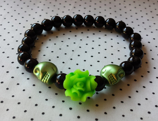 Bracelet Skull/flower vert