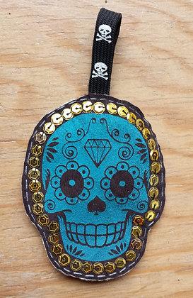 Porte-clés Skull bleu/doré