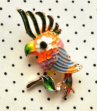 Broche Perroquet multicolore