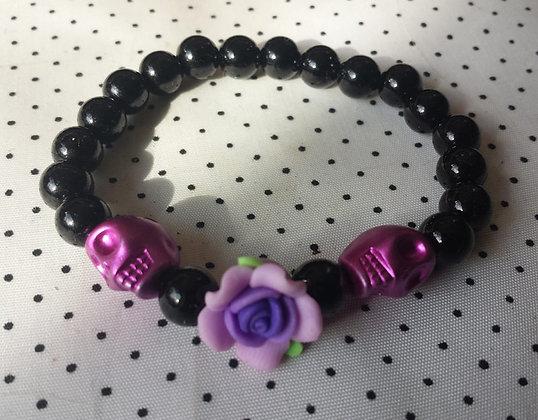 Bracelet Skull/flower violette/fushia