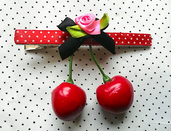 Barrette cerises rouge/noeud noir rose