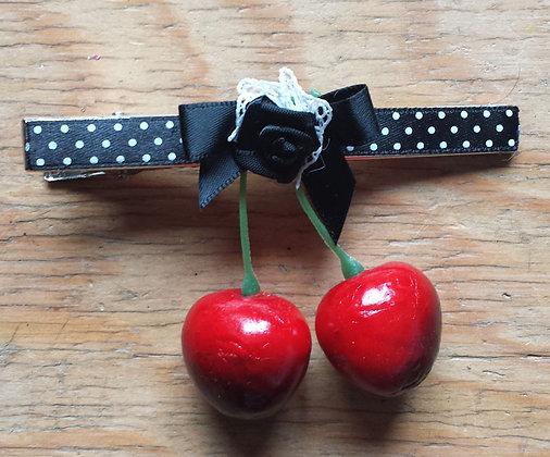 Barrette cerises noir/noeud noir
