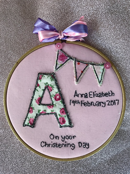 Christening Embroidery Hoop