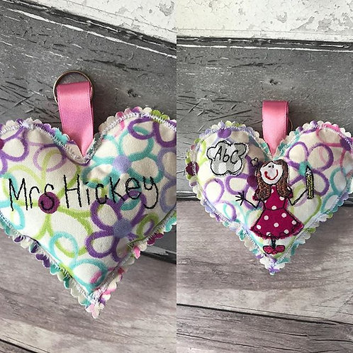 Hanging Heart Teachers Keyring