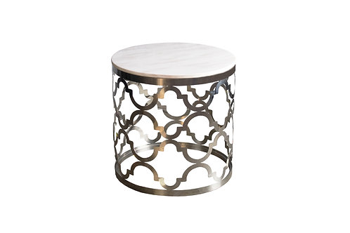 Round Stone Top Silver Table