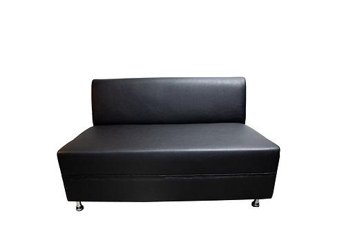 Sleek Loveseat - Black Leather