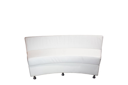 Continental Curved Loveseat - White Leather