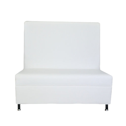 Sleek Tall Back Loveseat - White Leather