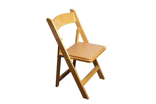 Natural Wood Camel Pad Folding Chair