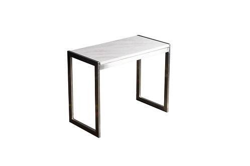 Square Stone Top Silver Table