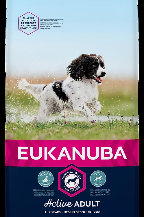 EUKANUBA für aktive ausgew. Hunde mittelgroßer Rassen, mit viel frischem Huhn