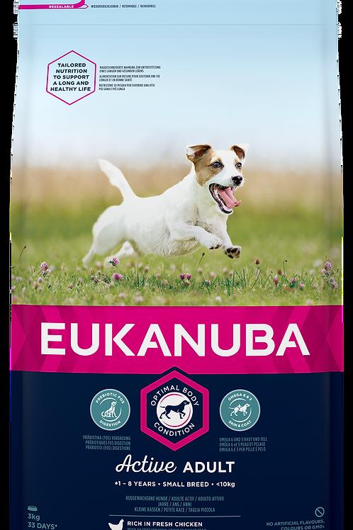 EUKANUBA für aktive ausgewachsene Hunde kleiner Rassen, mit viel frischem Huhn