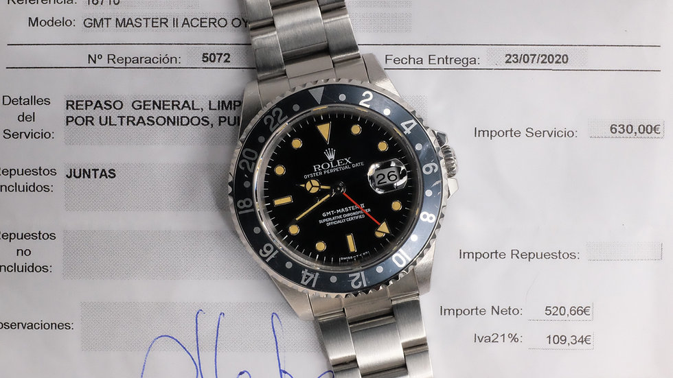 1991 Rolex GMT-Master II Ref. 16710 'heavy patina' w/ Rolex AD service papers