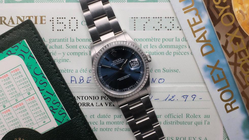 1996 Rolex Datejust Ref. 16220 'Blue Soleil dial' Full Set