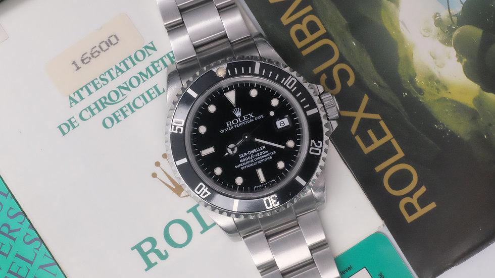 Unpolished 1991 Rolex Sea Dweller Ref. 16600 Full Set green case back sticker