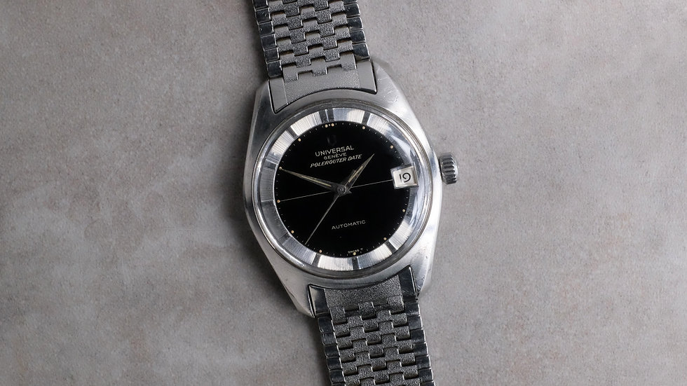 Unpolished 1966 Universal Geneve Polerouter Date Ref. 869113/01 'NSA bracelet'