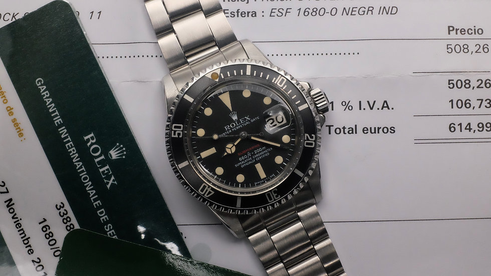 1973 Rolex Submariner Ref. 1680 'Red' MK V with Rolex Service papers and boxes