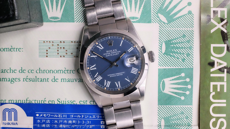 1983 Rolex Datejust Ref. 16000 Blue 'Buckley' Dial Full Set