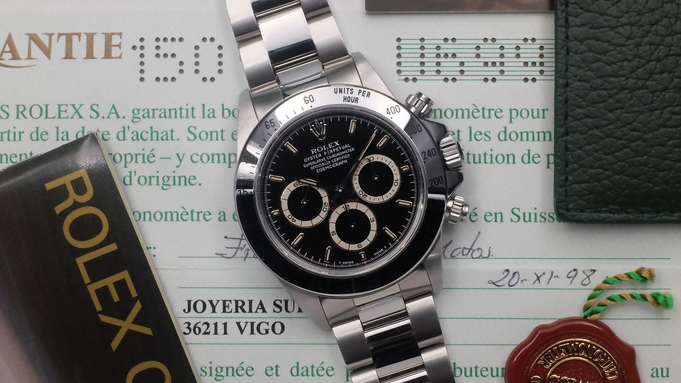 NOS 1998 U-series Rolex Daytona Ref. 16520 'Zenith' Full Set