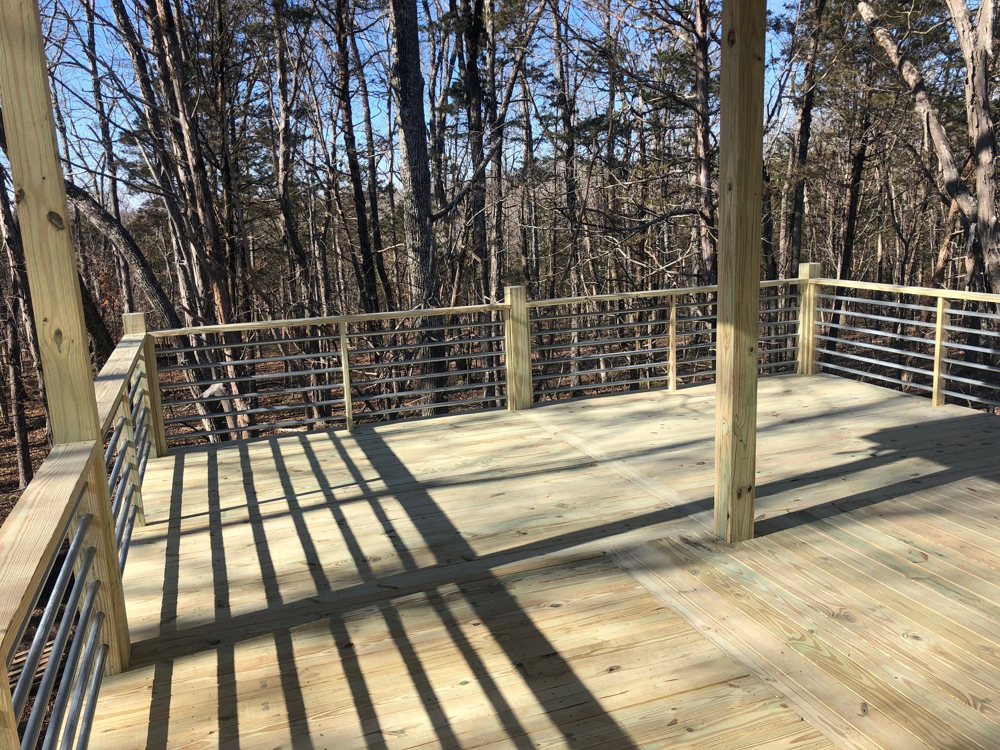 New Construction House Deck and Galvanized Horizontal Rails