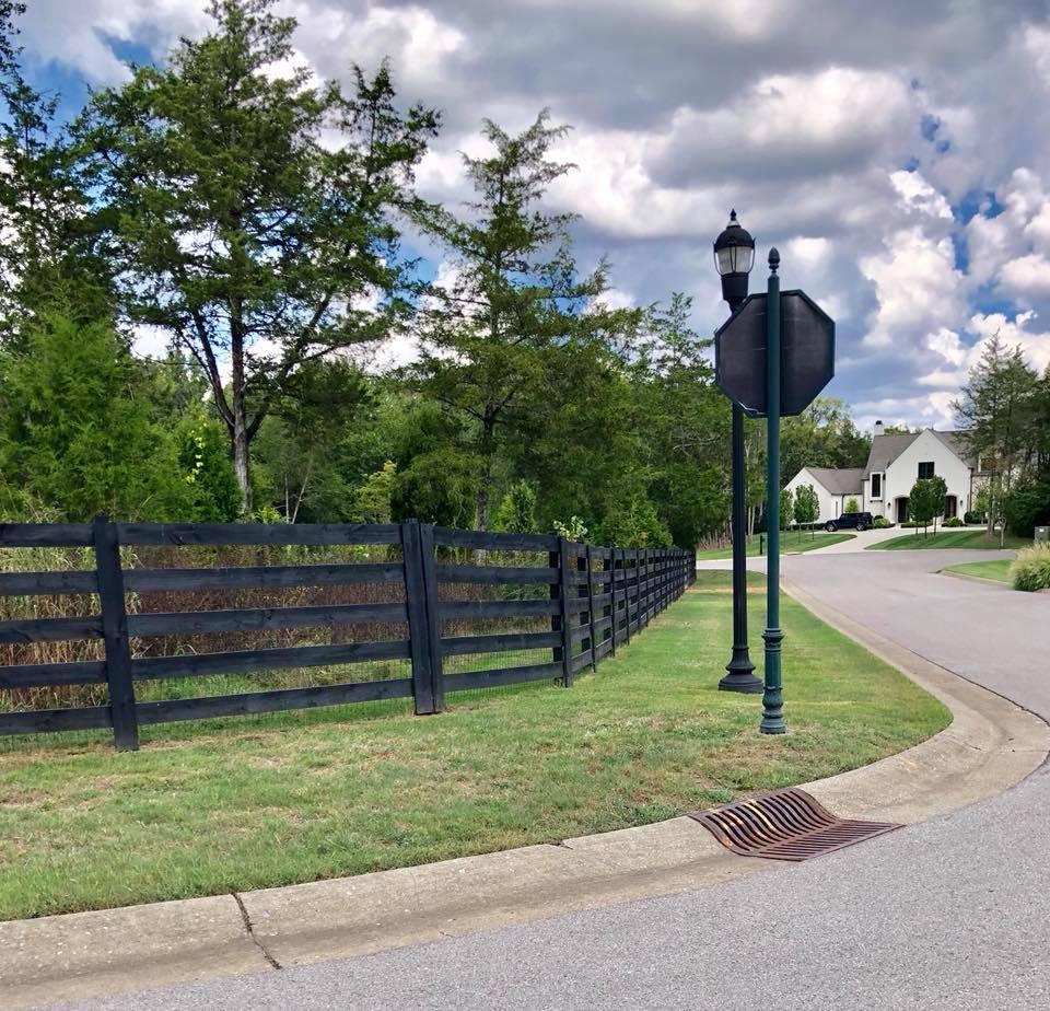 5 Rail Farm Fence Painted Black