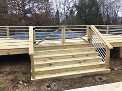 New Pool Deck with Galvanized Horizontal Rails
