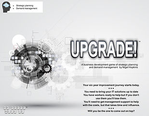 Image of the box front for Game-changing Insight's strategic planning game, UPGRADE!
