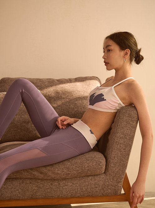 GLOW ACTIVEWEAR : PAINT BRUSH PRINT LEGGING - VIOLET