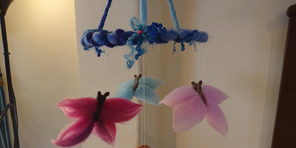 FILZEN Schmetterling - Mobile (ca.4 - 6 Schmetterlinge am Ast oder Kreis)