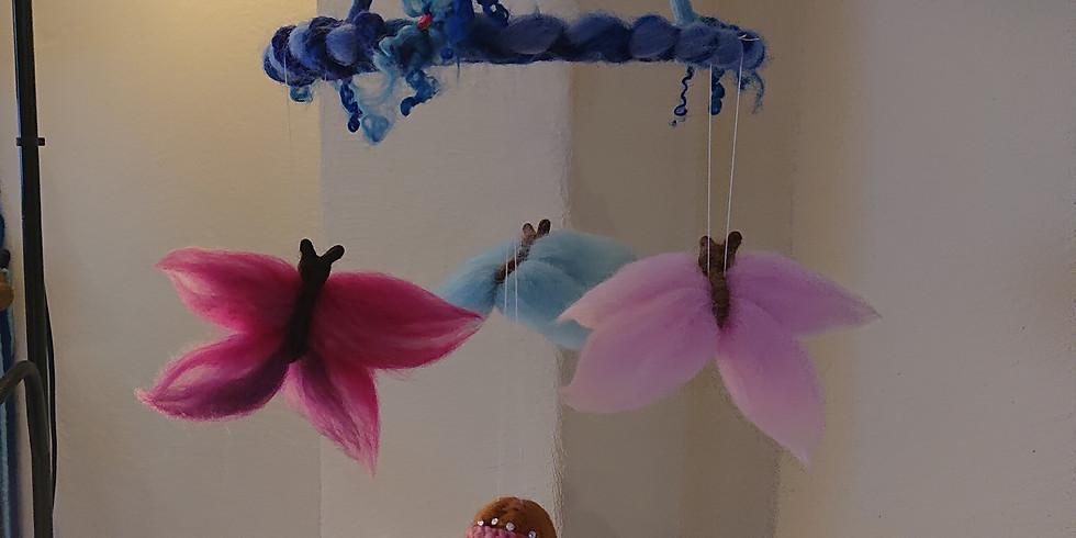 FILZEN Schmetterling - Mobile (4 - 6 Schmetterlinge am Ast oder Kreis)