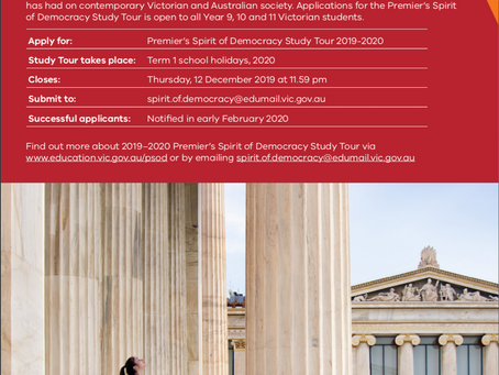 Premier's Spirit of Democracy Study Tour - Applications are now open