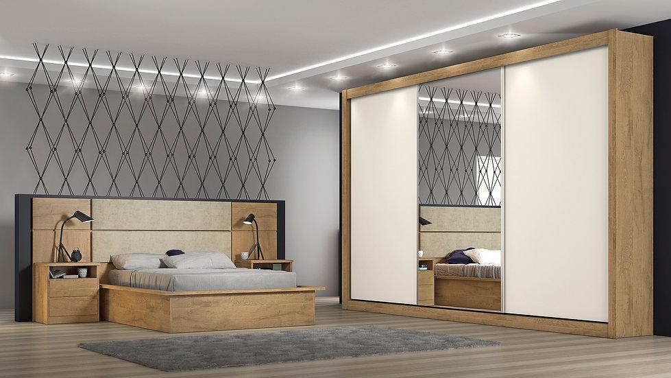 Dormitório Completo Branco Amadeirado/Off White