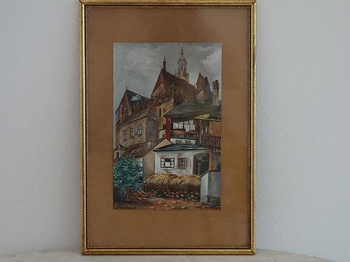 """B161 - Ölbild """"Prachatitz"""" von Franz Liebhart"""