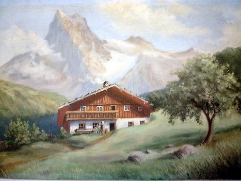 B75 - Landschaftsmalerei Bergbauernhof