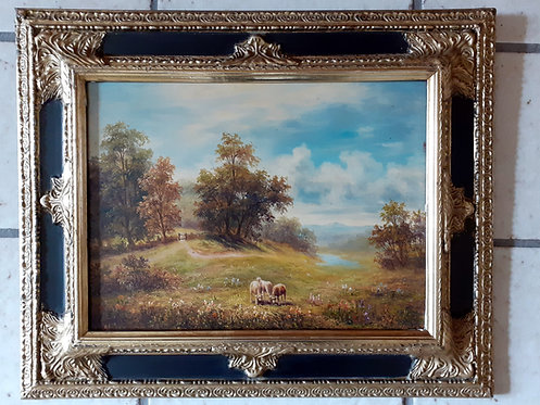 HO47 Landschaft mit Schafen, altes Ölbild