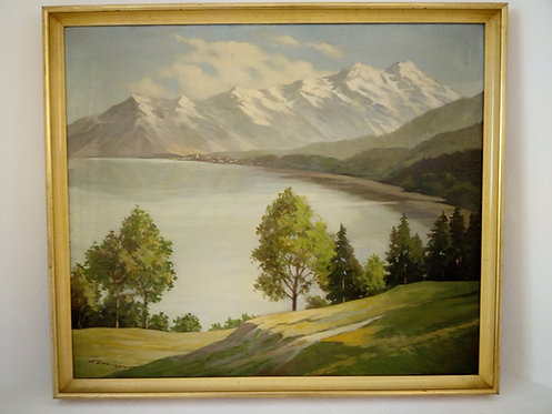 B77 - Landschaftsmalerei mit See