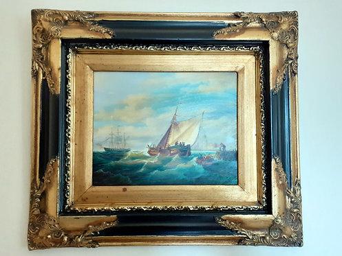 """HO45 Ölbild """"Segelschiff"""", signiert"""