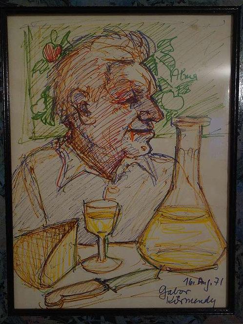 BK169 Original Zeichnung signiert Gabor 1971