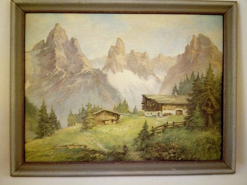 B69 - Landschaftsmalerei Bergbauernhof
