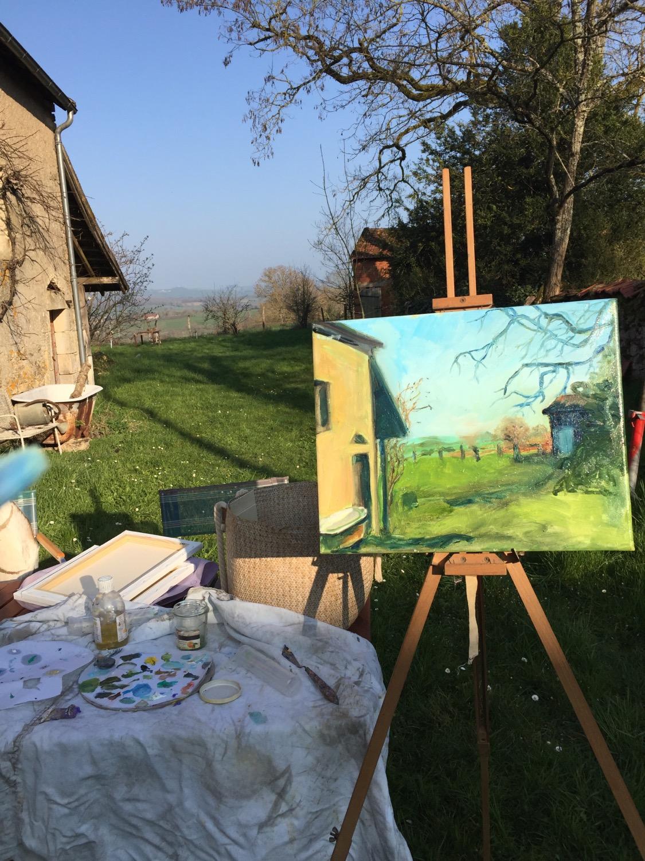 schilderen in de tuin in Frankrijk