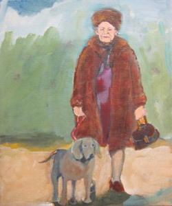 Oude dame in het bos
