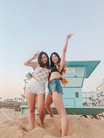 KAPPAS AT THE BEACH: Gina Groesbeck and Christina Wong