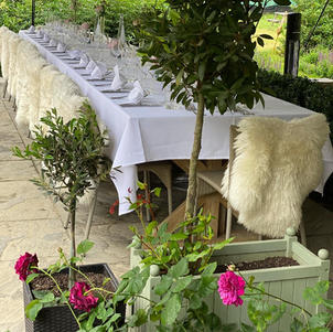 Top table on the covered patio
