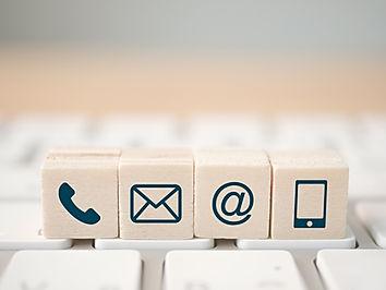 Wood block symbol telephone, mail, addre