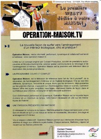 COMMUNIQUE DE PRESSE OPERATIONMAISON