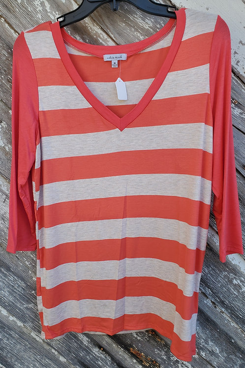 Coral Striped 3/4 Sleeve