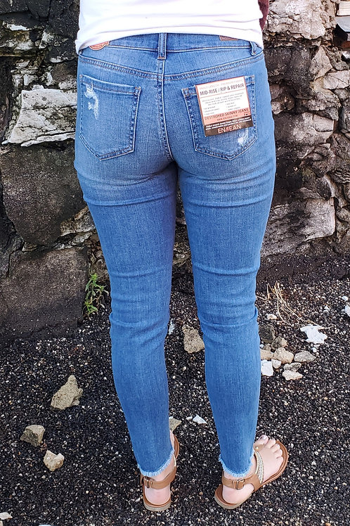 Distressed Ankle Length Stretch Denim