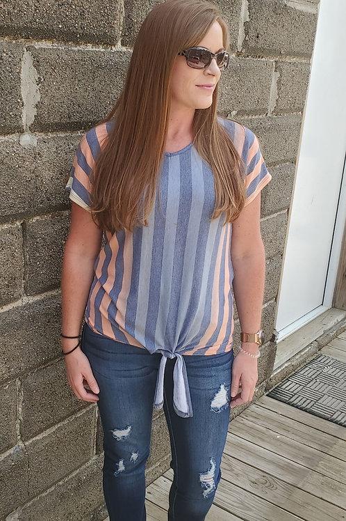 Striped tie v-neck